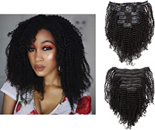 Lacerhair Seamless Kinkys Coily Clip in Human Hair Extensions Remi Brazilian Hair 4B Curly Style Natural Color For Black Women 7Pcs/lot 120Grams/set With 17 Clips 4C 14 Inch