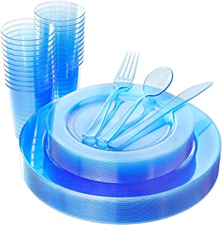 WDF 25 Guest Blue Plates with Disposable Plastic Silverware&Blue Cups-Neon Clear Plastic Dinnerware include 25 Dinner Plates,25Salad Plates,25Forks, 25 Knives, 25 Spoons,25 Plastic Cups