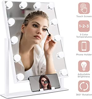 Best Choice Products Hollywood Makeup Vanity Mirror w/Smart Touch, Phone Holder, 12 LED Lights, Adjustable Color Temperature & Brightness, Metal Frame, for Dressing Room, Bedroom Table - White