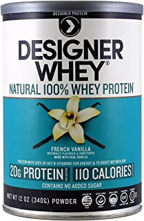 Designer Protein 100% Premium Whey Protein Powder, French Vanilla, 12 Ounce (Pack of 2) Canister,  Made in the USA
