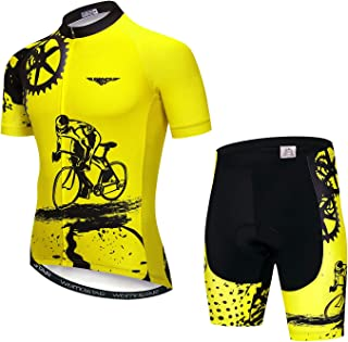 Men's Cycling Jersey and Shorts Set Short Sleeved Bike Jersey and Shorts Mountain Clothing Summer Wear Quick-Dry