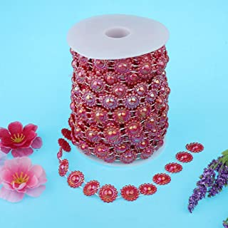 15m Artificial Pearls Sunflower Beaded Garlands Wedding Party Favors White  Color - Red 
