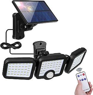 Lampe Solaire Exterieur Detecteur de Mouvement, 108 LED Spot Solaire avec Câble de 5m Eclairage Exterieur 360° Reglable Ap...