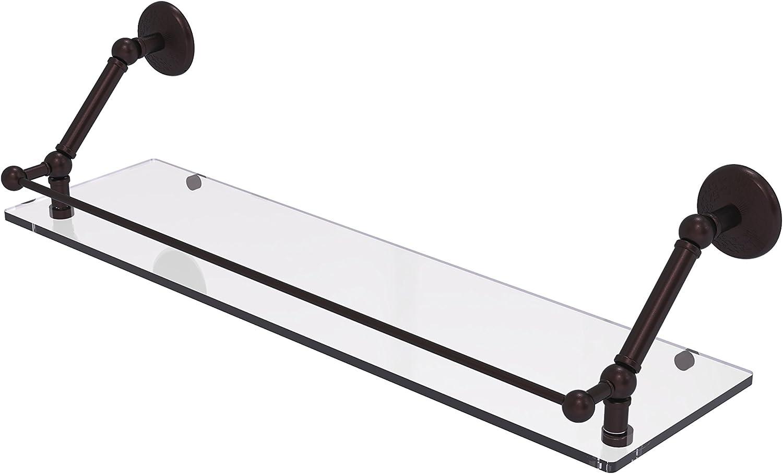 Allied Brass PMC-1-30-GAL-ABZ Prestige Monte Carlo 30 inch Floating Glass Shelf with Gallery Rail