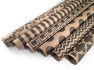 Kraft and Black Wrapping Paper Set - 6 Rolls - Multiple Patterns - 30