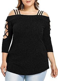 GAOXINGQU Women's Plus Size Off Shoulder Solid Color Slim Blouse (Color : Black, Size : 4XL)