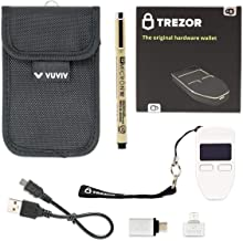 Trezor One - White Bitcoin Hardware Wallet Bundle with Bonus VUVIV Micro-USB Adapter & USB-C Adapter for MacBook & Sakura Pigma Archival Ink Pen for Recovery Seed Sheet