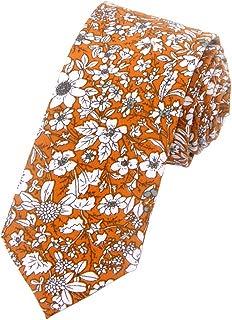 Men's Cotton Floral Printing Skinny Tie Linen Tie Necktie
