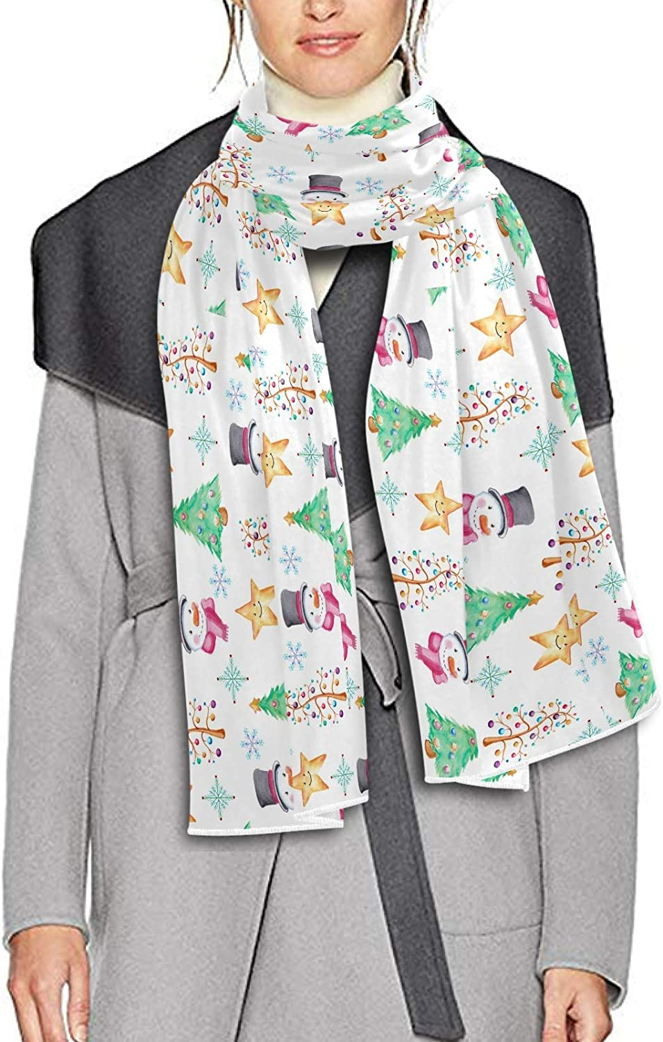 Scarf for Women and Men Snowman Golden Stars Christmas Shawls Blanket Scarf wraps Warm soft Winter Long Scarves Lightweight