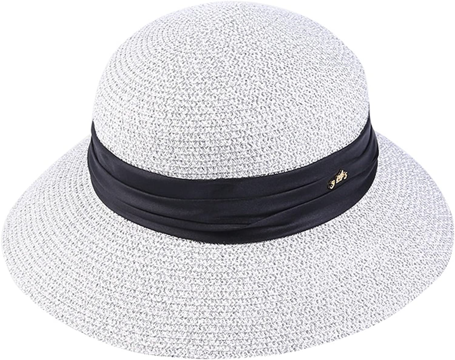 Hat Female Summer Shiny Visor Small Dome Hat Beach Hat Straw Hat Bright Silk Mixed Hat (color   White)