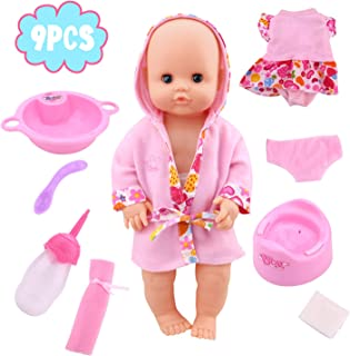 YOUNG CHOI'S Baby Doll, Toddlers Newborn Big Love Soft Doll with 8 PCS Accessories and Bottle for Little Babies Birthday Gift for 2 3 4 Year Old Kids