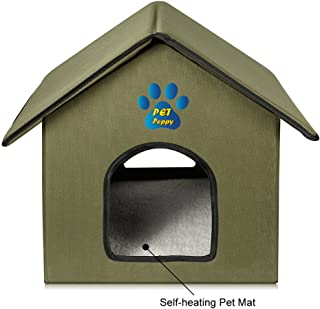 Outdoor/Indoor Cat House by Pet Peppy - Self Heating Pad, Waterproof, Perfect Shelter for Cold Nights