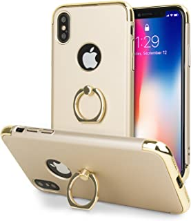 Olixar for iPhone X Ring Case - X Ring - Finger Loop - Rotating Kickstand and Media Viewing Stand - Selfie Loop - Gold