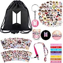 Bangtan Boys Merchandise for Army Girls 1 Backpack 40 Cartoon Stickers 12 Sheet of Stickers 8 Bracelet 2 Pins 1 Keychain 1 Lanyard 1 Phone Stand