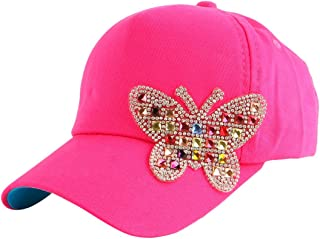 Queenbox Kids Rhinestone Denim Hat, Butterfly Studded Baseball Cap Snapback