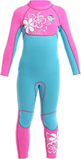 SLINX Kids Girls 3mm Neoprene Wetsuit One Piece UV Protection Thermal Swimsuit for 2-12 Years