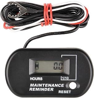 Runleader Contador de horas inductivo digital, recordatorio de mantenimiento para ZTR Cortacésped Generador portátil Compresor de aire Motonieve ATV Fuera de borda Motor Dirtbike. (negro)