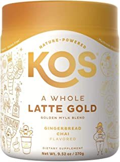 KOS A Whole Latte Gold - Organic Plant-Based Golden Milk Mix - Potent Ayurvedic & Mushroom Tea Blend - Supports Digestion, Immune Booster, Joint Support - Ginger Bread Chai Flavor, 30 Servings
