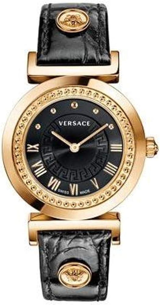 Versace,orologio per donna,cassa in acciaio inossidabile dorato e cinturino in vera pelle P5Q80D009S009