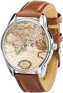 Watch World Map brown. Mens wrist watch. Travel gift. Vintage wrist watch. Travel watch. Unisex wrist watch. Going away gift watch.