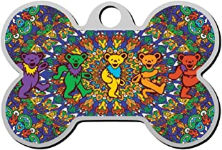 Sulily Duplex Print Thanksgiving Grateful Tie-Dyed Dancing Bear Pet ID Dog Tag,Custom Pet Tag Pets Name & Contact Number