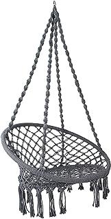 Hammock Chair Swing with Cushion, Gardeon Rope Swing Chair for Indoor, Outdoor, Home, Bedroom, Patio, Yard,Deck, Garden(Grey)