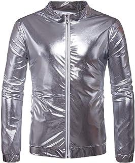 Men's Jacket, Autumn England Style Nightclubs Gold Glossy Jackets Coats Men's Casual Slim Silver Glossy Jackets (Color: Gold, Size: 2XL) (Color : Silver, Size : S)