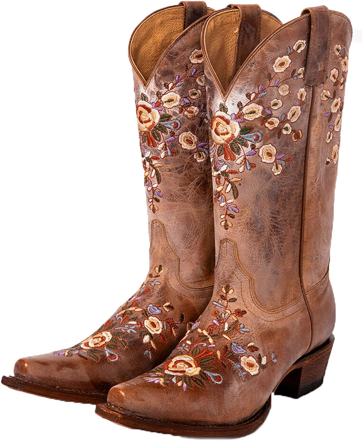 MeiLuSi Vintage Floral Western Cowboy Boots for Women Chunky Mid Heel Knee High Cowgirls Riding Knight Boots
