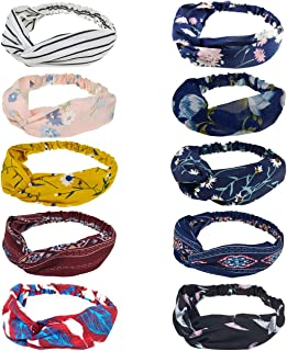 DRESHOW 10 Pack Boho Headbands for Women Vintage Cross Elastic Head Wrap Hair Accessories
