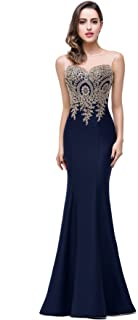 Babyonline Mermaid Evening Dress for Women Formal Lace Appliques Long Prom Dress