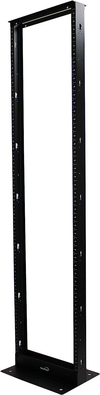NavePoint 45U Lightweight 2-Post IT Open Frame Server Network Relay Rack Aluminum Black