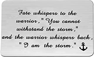 FEELMEM Encouragement Keychain I am The Storm Fate Whispers to The Warrior Keyring Inspirational Jewelry Gift