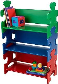Kidkraft 14400 pussel bokhylla för barn i grönt, blått och rött, barnrumsmöbler och hylla, bokhylla med 3 golv