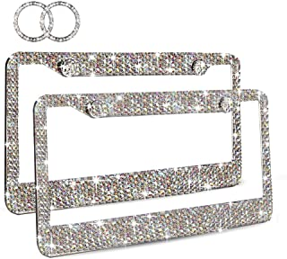 Ablawnct Rainbow Bling License Plate Frame, Luxury Handcrafted Car Frame Plate for Women Girls Multi-Colored Rhinestone,Unique Gift Idea