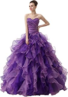Engerla Women's Organza Rhinestones Beading Floor-Length Lace-up Prom Ball Gown