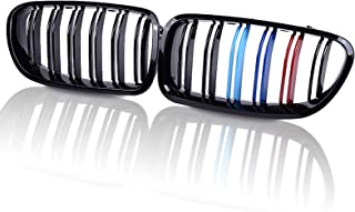 runmade Glossy Black M-Color Double Line Dual Slat Front Kidney Bumper Grille Grill Compatible with BMW 2010 2011 2012 2013 2014 2015 2016 2017 F10 F11 520i 523i 528i 530i 535i 550i