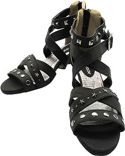 [MIRISE] サンダル 靴 ブラック スタッズ ウェッジソール ガールズ レディース 大きいサイズ 25.0-25.5cm 2E