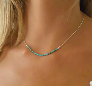 Handmade Sterling Silver Necklace With Tiny Turquoise Beads bar