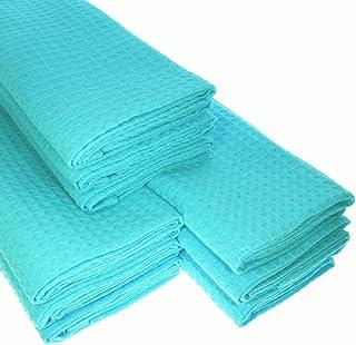 Lot de 9 torchons de vaisselle/cuisine/ménage à 100% en coton gaufré Turquoise