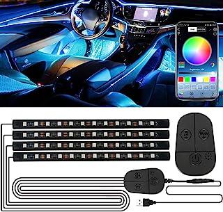 Auto LED Innenbeleuchtung, 48LED RGB Streifen mit Verbesserter APP und Kontroller Atmosphäre Licht, Wasserdicht Mehrfarbige Musik Auto Fußraumbeleuchtung Strip Kit, Starker Klebstoff, 5V USB Anschluss