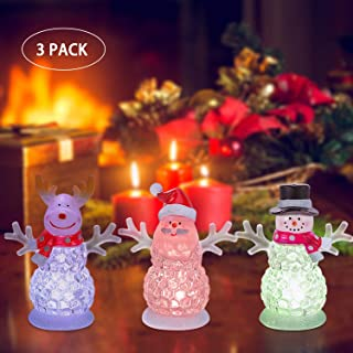 """Acrylic Christmas Decorations - Tabletop Xmas Figurine Light - RGB Color Changing Ornaments 4.5"""" Night Light Snowman Santa Claus Reindeer Button Battery Included Christmas Birthday Gifts(3 Pack)"""