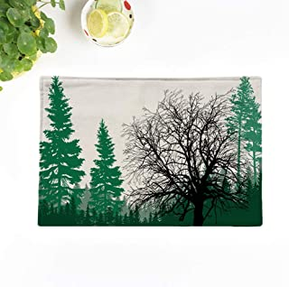 Topyee Placemats Set of 6 Illustration with Fir Forest Silhouettes Isolated on Whitetree Silhouette Plant 17x12.5 Inch Non-Slip Washable Place Mats for Kitchen Dinner Table Mats Parties Decor