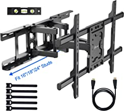 "Full Motion TV Wall Mount for Most 37-70 Inch LED,LCD,OLED Flat Panel TVs up to 132lbs - Fits 16"", 18"", 24"" Wood Studs -Tilt Swivel Dual Articulating Arms & Extends 14.4"", Max VESA 600x400mm"