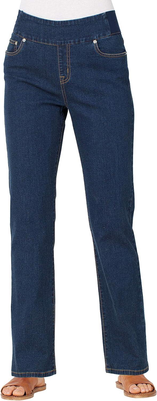 ANTHONY RICHARDS Women's Pull-on Straight Leg Jeans with Elastic Covered Waist Band Dark Denim 20 Women