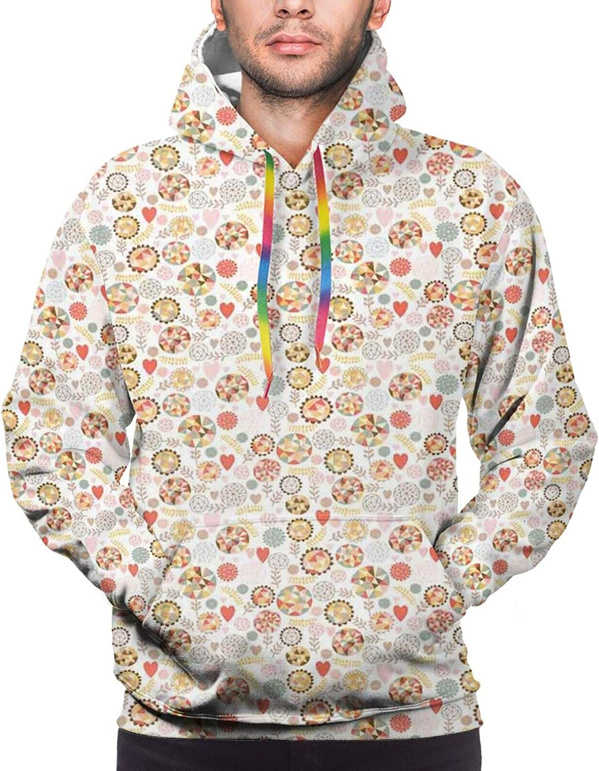 Men's Hoodies Sweatshirts,Modern Pattern with Geometric Flowers and Leafy Branches with Pastel Color Hearts