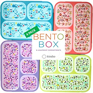 Bento Box for Kids Lunch-Boxes for Girls Boys | Snack Containers for Toddlers Pre-School | Cute Travel Day-Care Meal Container BPA Free | Blue Pink Purple Yellow-Green, 3 and 4 Compartments, 4 pack