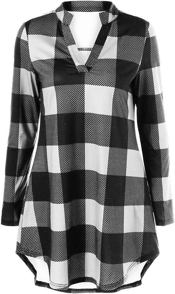 Camisas Cuadros Mujer Otoño Manga Larga Cuello V Camisetas ...
