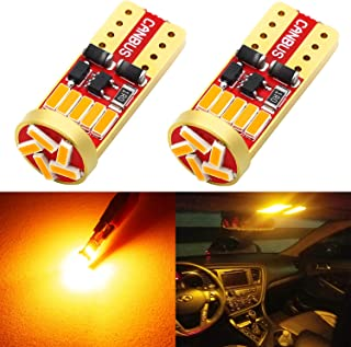 Phinlion 194 LED Amber Yellow Bulb Super Bright Wedge 168 2825 2827 T10 15-SMD 4014 Chipsets LED Replacement Bulbs for Car...