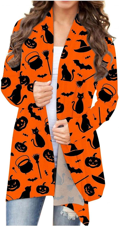 Halloween Cardigan Sweaters for Women Open Front Lightweight Long Sleeve Funny Pumpkin Black Cat Ghost Lightweight Coat