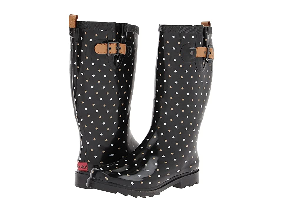Chooka Classic Dot Rain Boot (Black) Women